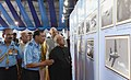 Pranab Mukherjee visiting the Photo Exhibition, at the presentation of Standards to 501 Signal Unit and 30 Squadron of Indian Air Force, at Air Force Station, Ambala, in Haryana.jpg