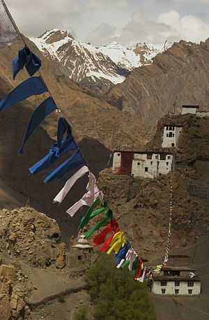Dhankar Gompa - Prayer flags in Dhankar