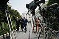 President George W. Bush walks with National Security Advisor Stephen Hadley and White House Press Secretary Tony Snow.jpg