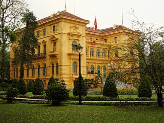 French Colonial - The Presidential Palace of Vietnam, in Hanoi, was built between 1900 and 1906 to house the French Governor-General of Indochina.