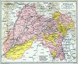 Mapo de Panĝabo en la jaro 1909, Brita imperio