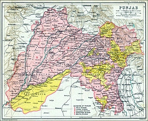 Punjab States Agency - Map of the British Punjab in 1909.