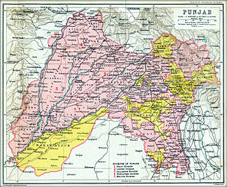 Chandigarh - A map of the British Punjab province in 1909. During the Partition of India along the Radcliffe Line, the capital of the Punjab Province, Lahore, fell into West Punjab, Pakistan. The necessity to have a new capital for East Punjab in India then, led to the development of Chandigarh.