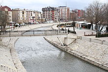 A picture of Llapi river, taken from the center of Podujevo.