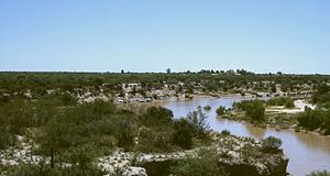 Semi-arid Pampas - View of the Desaguadero River along the caldén-speckled espinál between Mendoza and San Luis provinces.