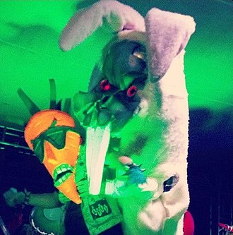 Radioactive Chicken Heads - Carrot Topp being attacked by Badd Bunny at the 2013 Long Beach Zombie Walk.