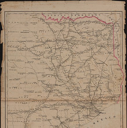 Railroad map of Texas, east of the 100th meridian (circa 1884) Railroad Map of Texas East of the 100th Meridian.jpg