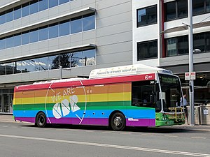 Australian Marriage Law Postal Survey - Image: Rainbow ACTION bus September 2017