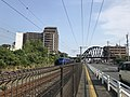 Rapid express on Kagoshima Main Line and bridge of Kashii Line on Japan National Route 495.jpg