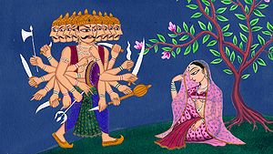 English: Ravana approaches Sita during her cap...