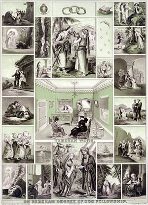 International Association of Rebekah Assemblies - An 1898 print depicting various themes related to the work of the Rebekah Lodges.