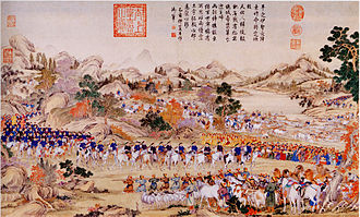 Dzungar–Qing Wars - Zhaohui receives the surrender of Dawachi at Ili 1755