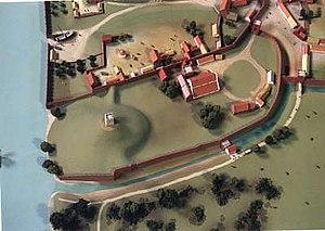 Worcester Castle - Image: Reconstruction of Worcester Castle