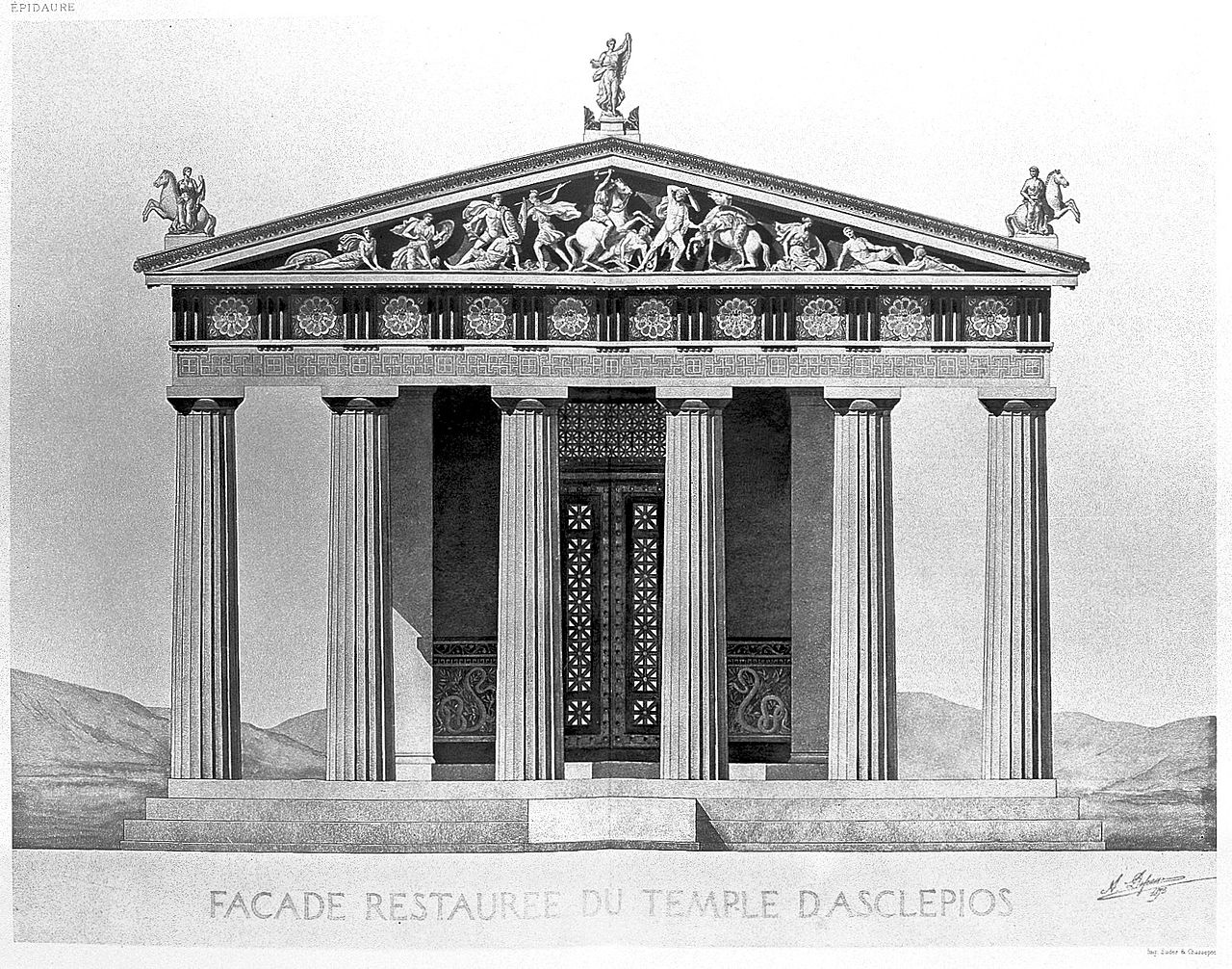 File:Reconstruction of facade of temple of Aesculapius Wellcome
