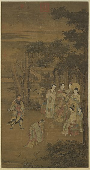 Emperor Wen of Han - The emperor is seated and listens intently to his official Yuan Ang at Shanglin Garden.