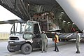 Relief materials for earthquake affected people in Nepal are being loaded into an IAF C-17 transport aircraft, at Palam airport, in New Delhi.jpg