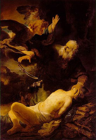 Binding of Isaac - Abraham and Isaac (oil on canvas), Rembrandt, 1634