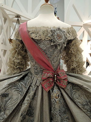 Order of Saint Catherine - Replica of Catherine II's wedding dress (1745) featuring the scarlet sash of the Order of Saint Catherine
