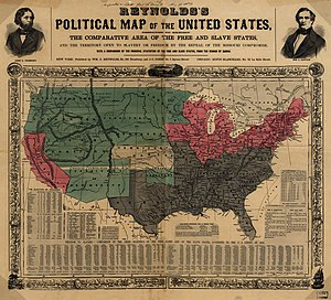 Organic Act - This 1856 map shows slave states (gray), free states (pink), U.S. territories (green), and Kansas in center (white).