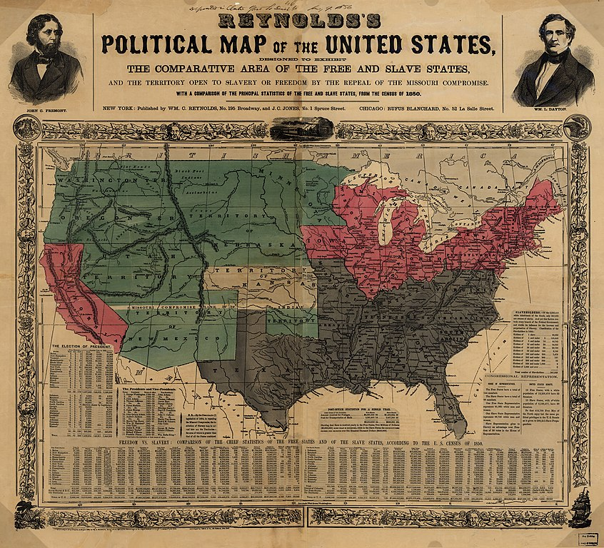 FileReynoldss Political Map Of The United States Jpg - Map of slavery in the us