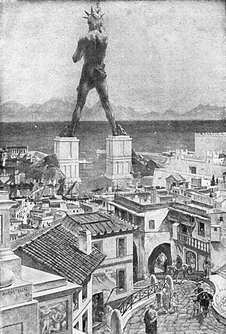 Colossus of Rhodes - Artist's conception from the Grolier Society's 1911 Book of Knowledge