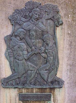Robin Hood - King Richard the Lionheart marrying Robin Hood and Maid Marian on a plaque outside Nottingham Castle