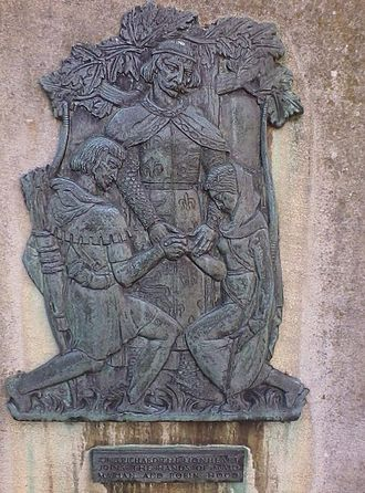 Robin Hood - King Richard the Lionheart marrying Robin Hood and Maid Marian on a plaque outside Nottingham Castle