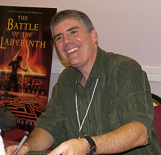 Rick Riordan - Riordan at the 2007 Texas Book Festival with advance publicity for The Battle of the Labyrinth