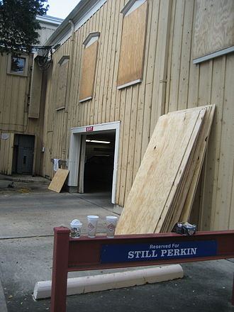 Hurricane preparedness for New Orleans - Windows of building in Uptown New Orleans being boarded up in preparation of a possible threat from Hurricane Gustav, August 28, 2008.