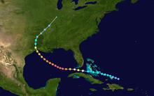 La pado de tropika ciklono en mapo kiel reprezentite per koloraj punktoj. Ĉiu punkto reprezentas la intensecon de la ŝtormo je ses-horaj intervaloj.