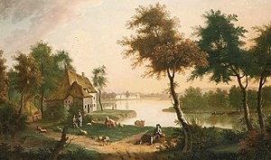 George Smith (artist) - River landscape with a drover in the foreground