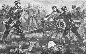 Sino-French War - Rivière attempts to rescue a bogged French cannon during the Battle of Paper Bridge. (19 May 1883)