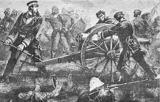 Riviere attempts to rescue a bogged French cannon during the Battle of Paper Bridge. (19 May 1883) Riviere pushing the cannon forward at Sontay.jpg