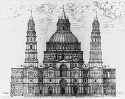 An engraved picture showing an immensely complex design for the facade, with two ornate towers and a multitude of windows, pilasters and pediments, above which the dome rises looking like a three-tiered wedding cake.
