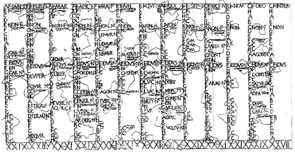 "A reproduction of the fragmentary Fasti Antiates Maiores (c. 60 BC), with the seventh and eighth months still named Quintilis (""QVI"") and Sextilis (""SEX"") and an intercalary month (""INTER"") in the far righthand column Roman-calendar.png"
