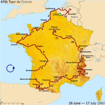 Route of the 1960 Tour de France followed counterlockwise, starting in Lille and finishing in Paris