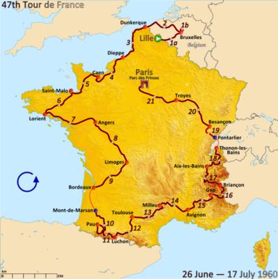 Route van de Ronde van Frankrijk 1960 Gevolgd counterlockwise, te beginnen in Lille en afwerking in Parijs