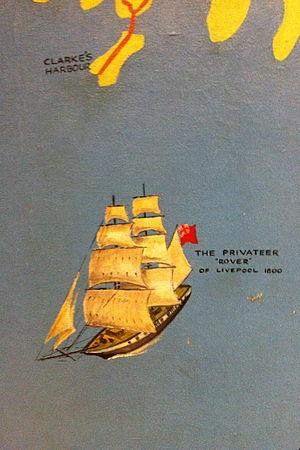 Rover (privateering ship) - Rover - inset of mural of a map of Nova Scotia, The Westin Nova Scotian, Halifax, Nova Scotia