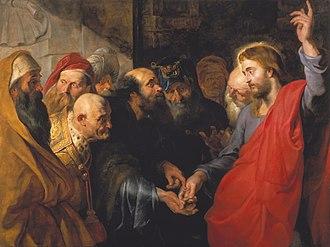 Render unto Caesar - Caesar's Coin, by Peter Paul Rubens