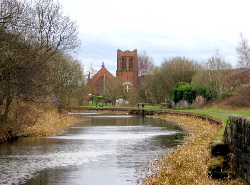 Ruchill Church, Glasgow, seen from the Forth and Clyde Canal.