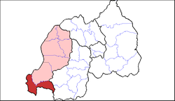 Shown within Western Province and Rwanda