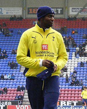 Sébastien Bassong - Bassong warming up for Tottenham Hotspur in 2010