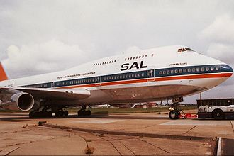 "South African Airways - The Boeing 747-300 Johannesburg, one of the 23 ""Jumbo Jets"" bought new by the airline, painted in the pre–1997 orange, blue and white livery, featuring the Afrikaans name of the airline SAL (Suid-Afrikaanse Lugdiens)."