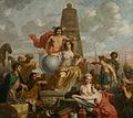 SA 34496-De Stedenmaagd van Amsterdam-De Stedenmaagd van Amsterdam, de hulde ontvangend van verschillende volken-Allegorie op de welvaart van Amsterdam.jpg