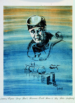 George F. Bond - NOAA drawing of Dr. Bond and the SEALAB habitat. (1960s) Captain George Bond's Discoveries Enable Divers to Stay Below Indefinitely