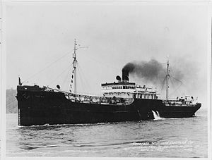 Concrete ship - The American concrete oil tanker Palo Alto, originally meant for merchant service in the first World War, but completed in 1919. (Naval History and Heritage Command - Photo NH 799)