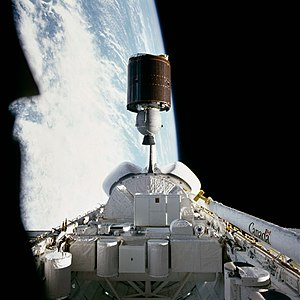 Anik (satellite) - The Canadian Telesat-F (Anik C2) communications satellite in June 1983, about to be deployed by the shuttle Challenger to begin its way to its earth-orbital destination.
