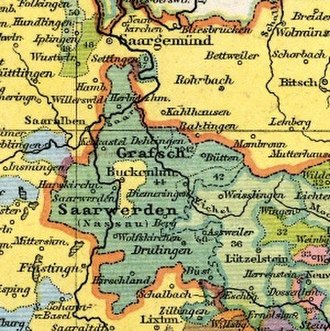 County of Saarwerden - The County was restored in 1648, although Lorraine acquired the capital of Bouquenom (Bockenheim).