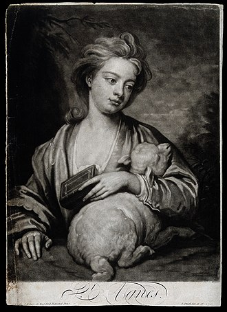Mezzotint - Saint Agnes, mezzotint by John Smith after Godfrey Kneller, usually thought to be a portrait of his daughter, Catherine Voss, by his mistress.