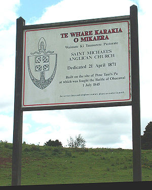 Battle of Ohaeawai - The Saint Michael's sign at Ohaeawai